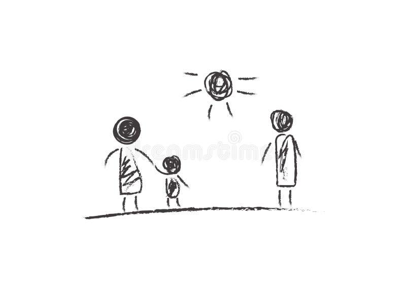 Skilsmässaföräldrar som drar royaltyfri illustrationer
