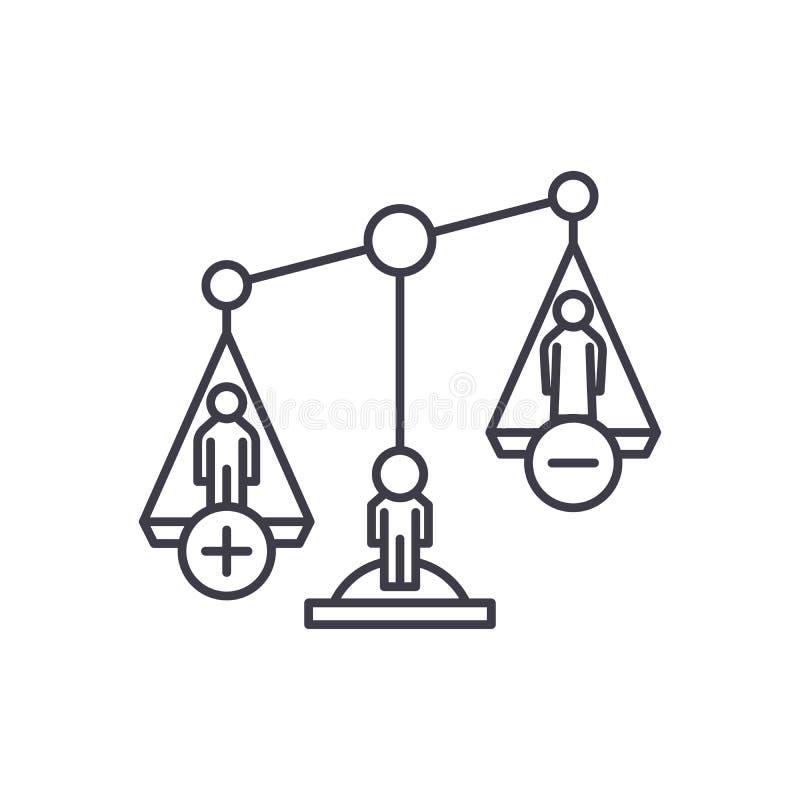 Skilsmässaförfaranden fodrar symbolsbegrepp Linjär illustration för skilsmässaförfarandevektor, symbol, tecken stock illustrationer