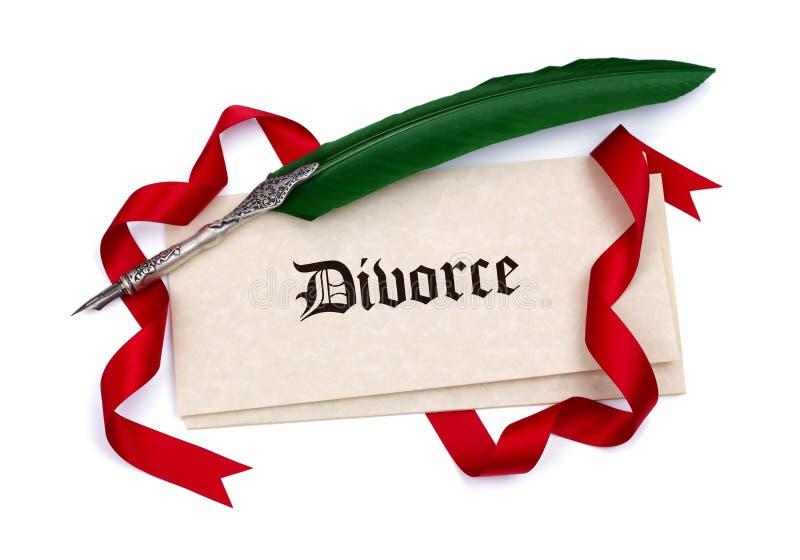 Skilsmässalegitimationshandlingar och fjäderpenna arkivbild