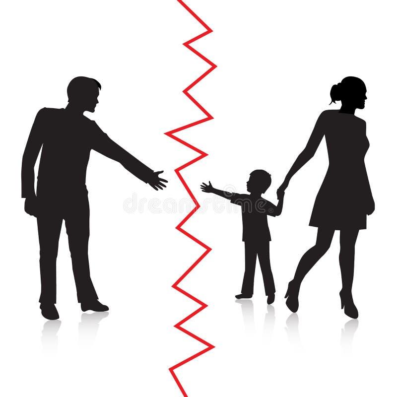 Skilsmässan och avskiljandet av fadern och behandla som ett barn royaltyfri illustrationer