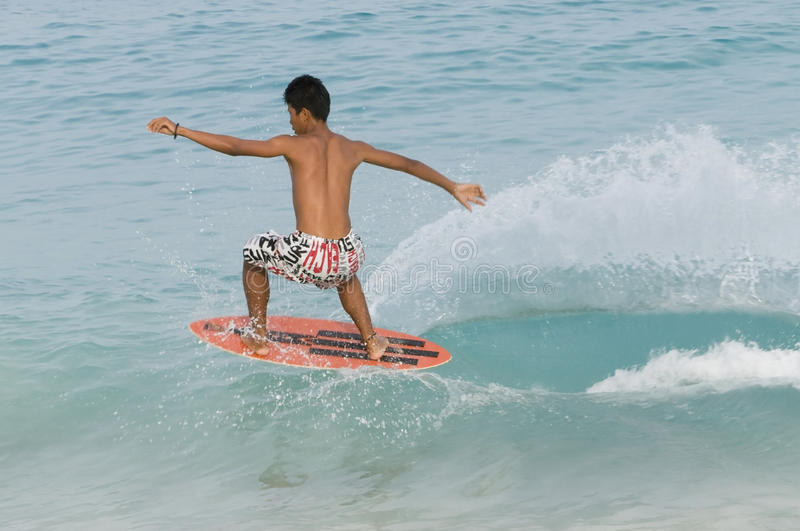 Skim boarding stock photography
