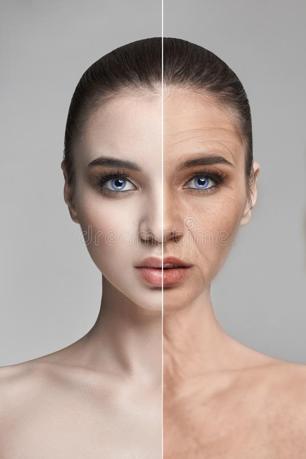 Free Skin Aging, Wrinkles, Woman Facial Rejuvenation. Skin Care, Recovery And Regeneration Of The Skin. Before And After. Woman Aging Royalty Free Stock Images - 126288779