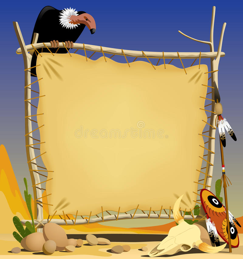 Skin of animal in a desert. Raster version of vector illustration of the frame from skin of animal with indian arms There is in addition a vector format (EPS 8