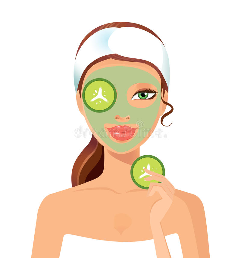 Skin beautiful woman with peeling green face mask vector illustration concept. Eps 10 vector illustration