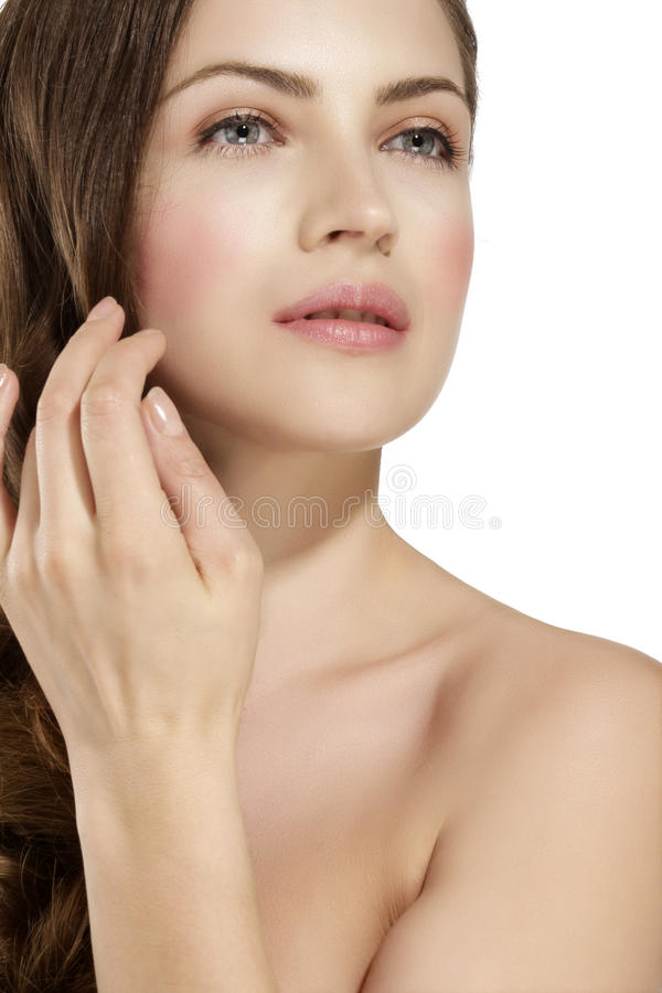 Skin of beauty young woman with redness, skin problems. On white royalty free stock photography