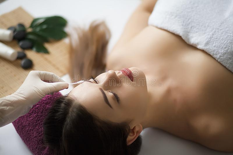 Skin And Body Care. Close-up Of A Young Woman Getting Spa Treatment At Beauty Salon. Spa Face Massage. Facial Beauty Treatment. S royalty free stock photos