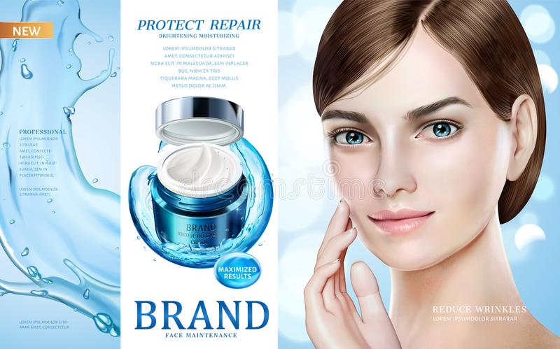 Skin care ads. Pretty model in short hair with moisture cream jar and splashing water in 3d illustration, design for ad or magazine royalty free illustration