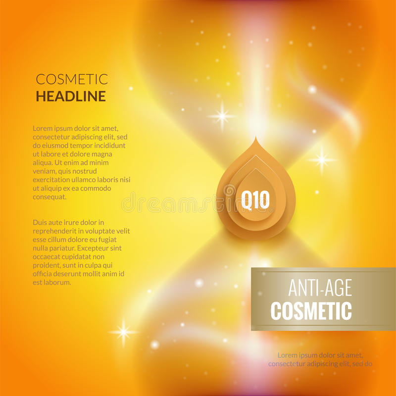 Skin care anti-age cosmetic template. Golden poster or brochure concept. vector illustration