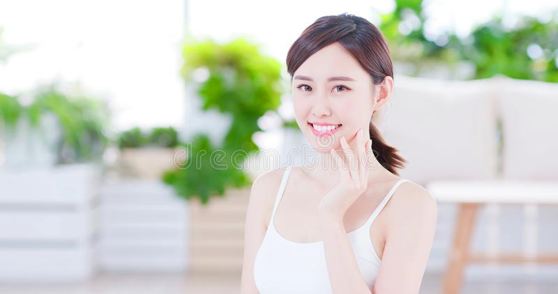 Skin care asian woman royalty free stock photography