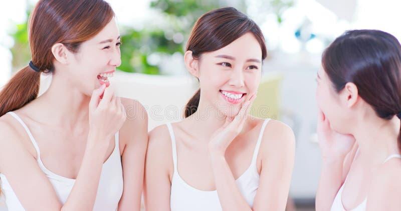 Skin care asian women friend royalty free stock photo