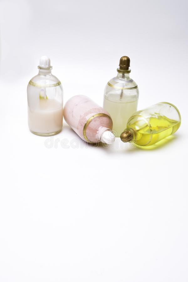 Skin Care Beauty Product isolated on white. Oils, cream, milk, serum stock photos
