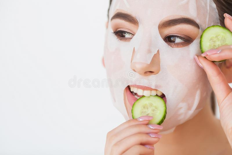 Skin Care. Beauty Woman Face With Fresh Skin In Spa.  royalty free stock photography