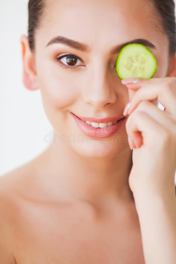 Skin Care. Beauty Woman Face With Fresh Skin In Spa.  stock photo