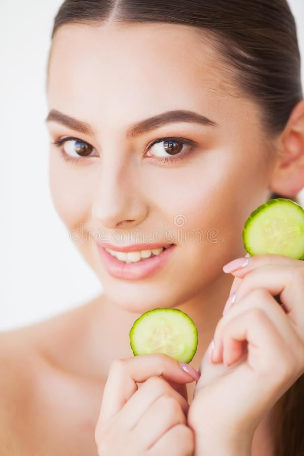 Skin Care. Beauty Woman Face With Fresh Skin In Spa.  royalty free stock image