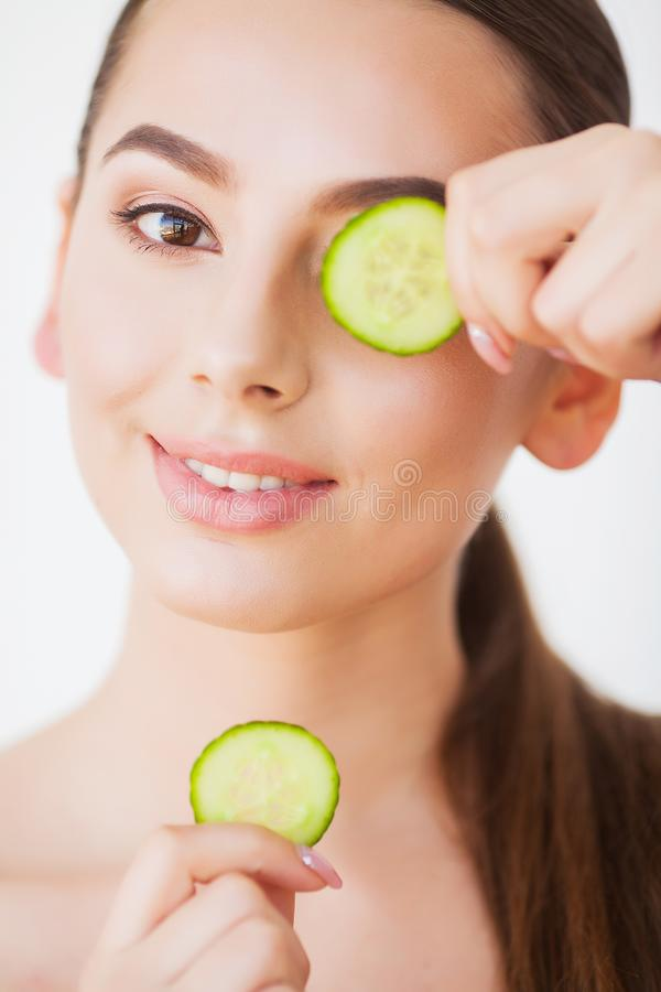 Skin Care. Beauty Woman Face With Fresh Skin In Spa.  stock image