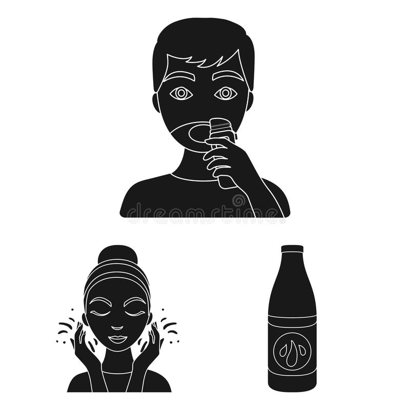 Skin care black icons in set collection for design. Face and body vector symbol stock web illustration. Skin care black icons in set collection for design. Face stock illustration