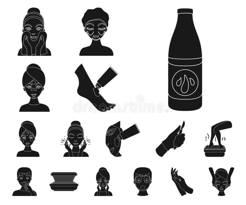 Skin care black icons in set collection for design. Face and body vector symbol stock web illustration. Skin care black icons in set collection for design. Face vector illustration