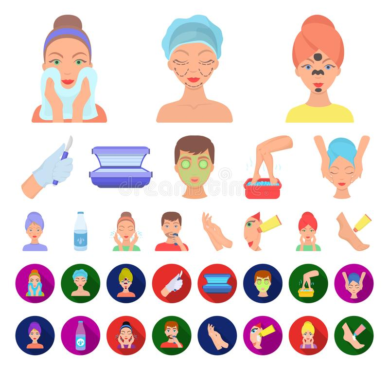 Skin care cartoon,flat icons in set collection for design. Face and body vector symbol stock web illustration. Skin care cartoon,flat icons in set collection vector illustration