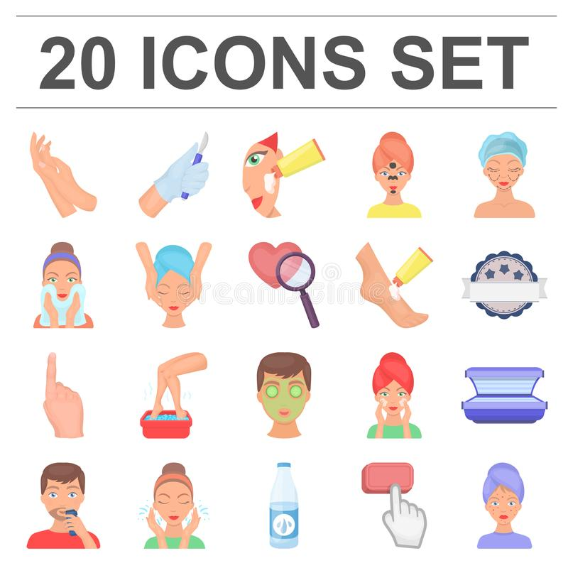 Skin care cartoon icons in set collection for design. Face and body vector symbol stock web illustration. Skin care cartoon icons in set collection for design stock illustration