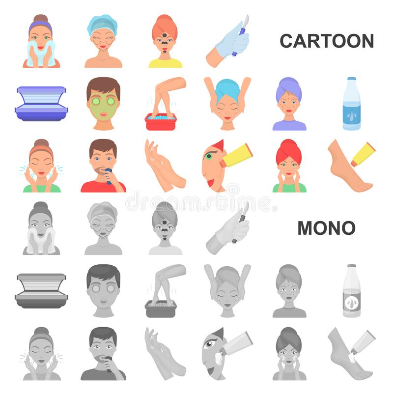Skin care cartoon icons in set collection for design. Face and body vector symbol stock web illustration. Skin care cartoon icons in set collection for design vector illustration