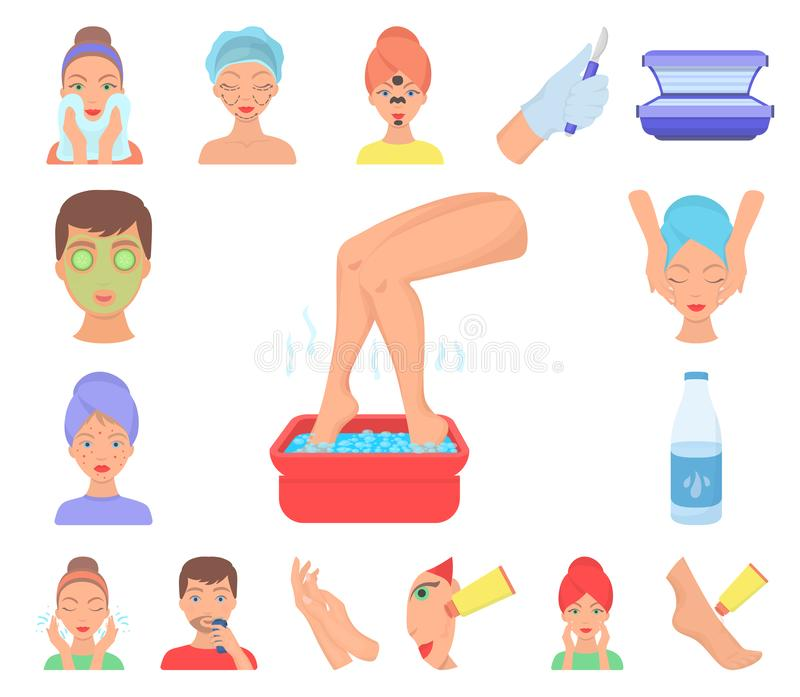 Skin care cartoon icons in set collection for design. Face and body vector symbol stock web illustration. Skin care cartoon icons in set collection for design royalty free illustration