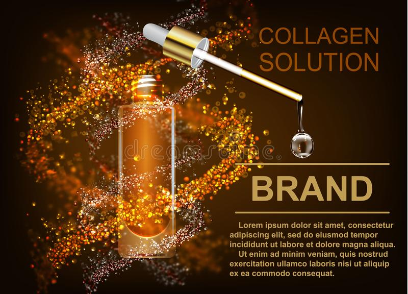 Skin care, the collagen solution. A drop of Q10 with DNA. royalty free illustration