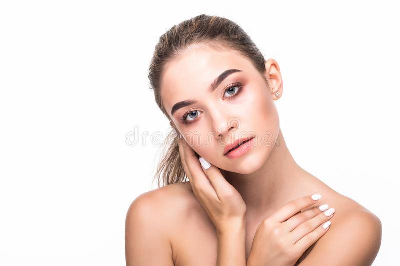Skin care concept. Beauty and spa for body and face. Beautiful smiling tender young woman with fresh clean skin on white backgroun royalty free stock image
