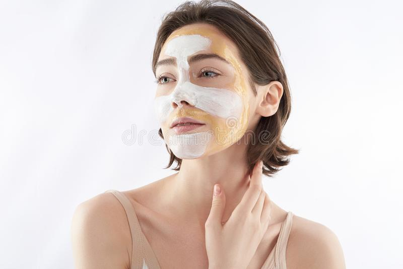 Portrait of sensual woman with face mask stock photos