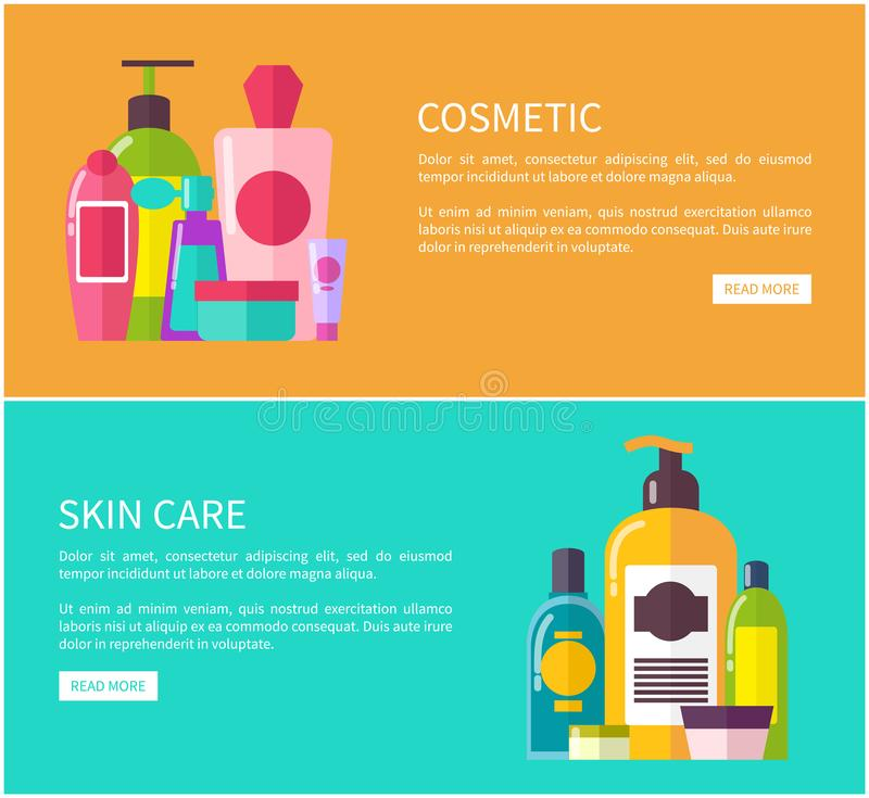 Skin Care Cosmetic Set, Color Vector Illustration. Of different creams, shampoo and another products in glitter bottles, push-buttons and text sample vector illustration