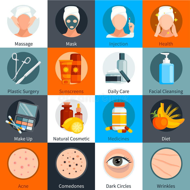 Skin Care Flat Colored Icons Set vector illustration