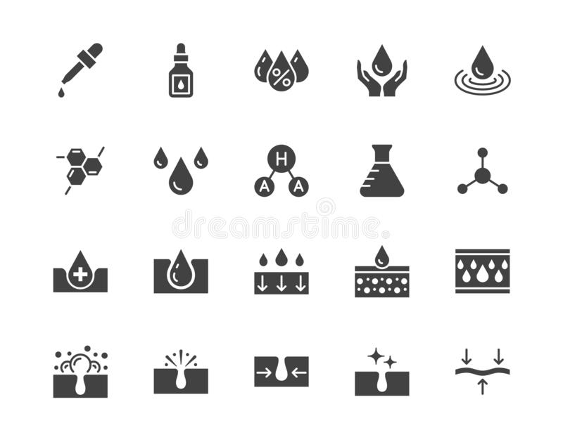 Skin care flat glyph icons set. Hyaluronic acid drop, serum, anti ageing compound retinol, pore tighten vector. Illustrations. Signs cosmetic product label royalty free illustration