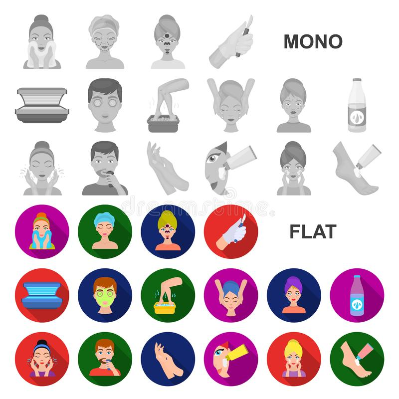 Skin care flat icons in set collection for design. Face and body vector symbol stock web illustration. Skin care flat icons in set collection for design. Face stock illustration