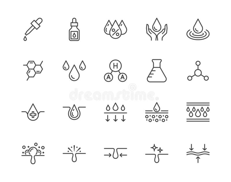 Skin care flat line icons set. Hyaluronic acid drop, serum, anti ageing compound retinol, pore tighten vector. Illustrations. Outline signs cosmetic product royalty free illustration