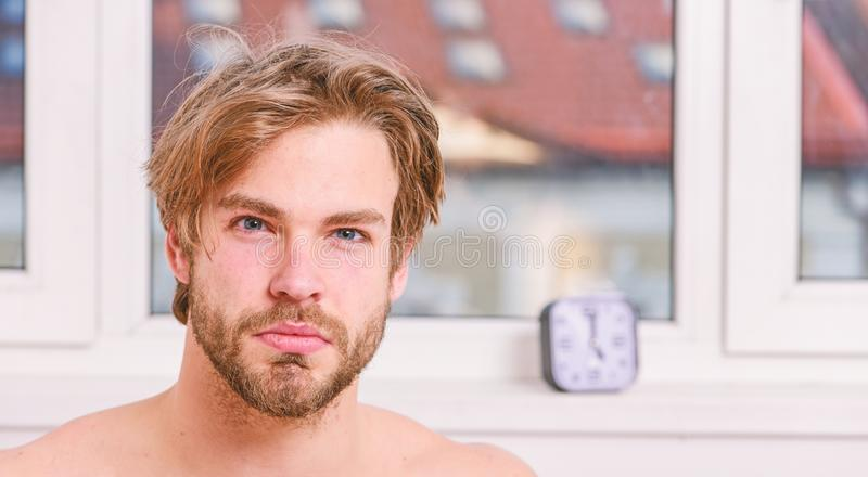 Skin care and grooming. Morning beauty routine checklist. Essential practices beauty routine. Your beauty schedule. Man. Handsome bearded just wake up. Macho stock photography