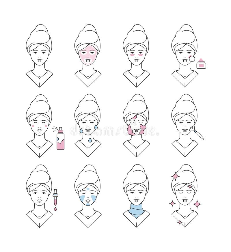 Skin care icon. Face cream soap washed collagen eye creme makeup line cleanse pore vector symbols. Illustration care face skin, girl facial cosmetic mask royalty free illustration