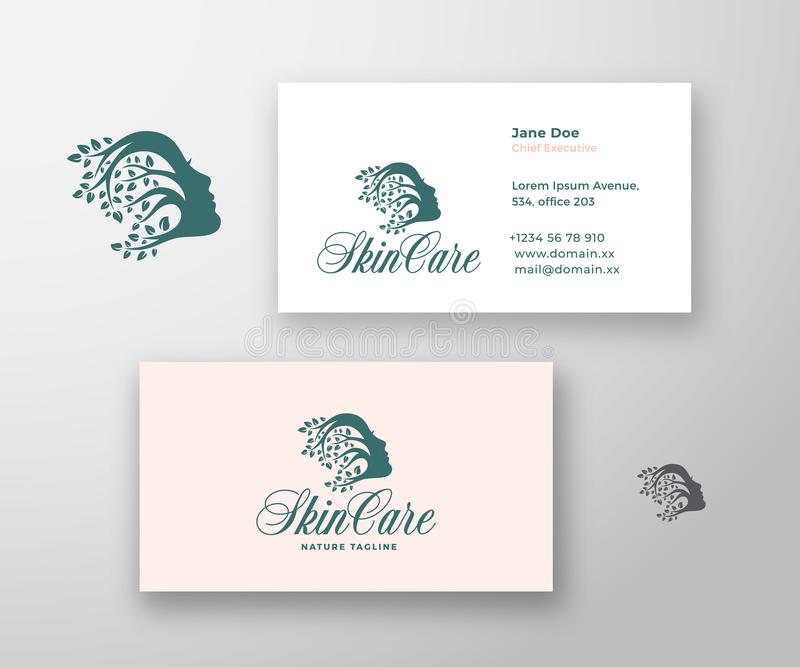 Skin Care Logo and Business Card Template. Beautiful Woman Face with Curly Hair of Branches with Leafs. Premium vector illustration
