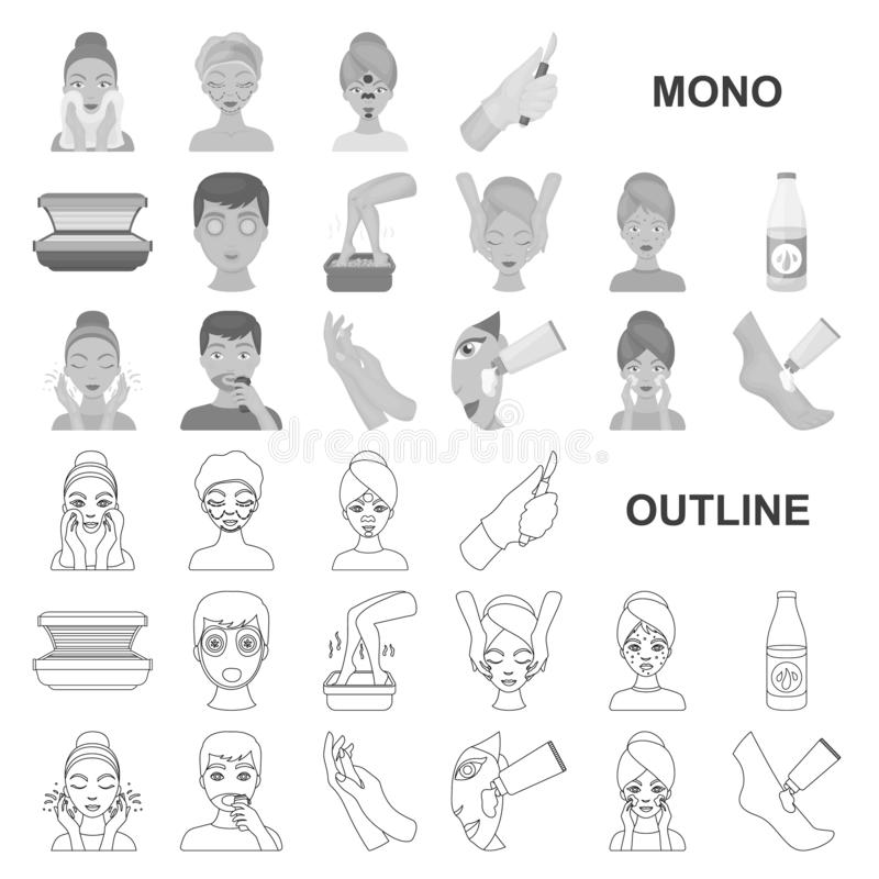 Skin care monochrom icons in set collection for design. Face and body vector symbol stock web illustration. Skin care monochrom icons in set collection for vector illustration