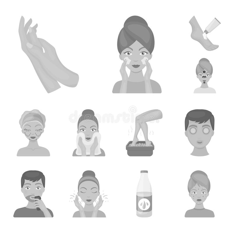 Skin care monochrome icons in set collection for design. Face and body vector symbol stock web illustration. Skin care monochrome icons in set collection for royalty free illustration
