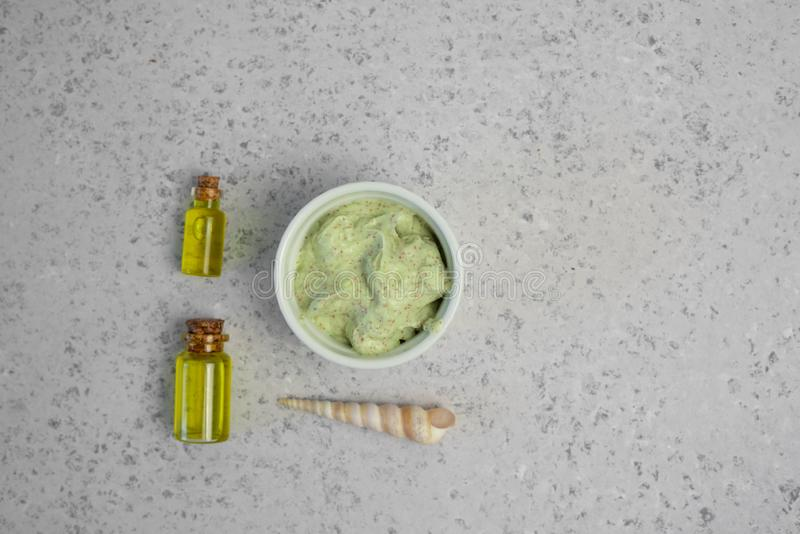 Skin care natural products ingredients for scrub body mask: Avocado, coffee, coconut, oil.  stock photography