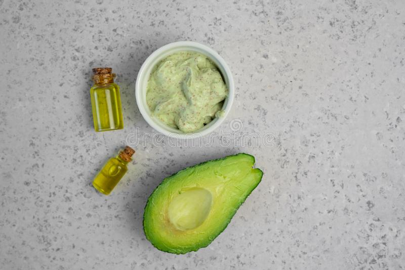 Skin care natural products ingredients for scrub body mask: Avocado, coffee, coconut, oil.  stock image