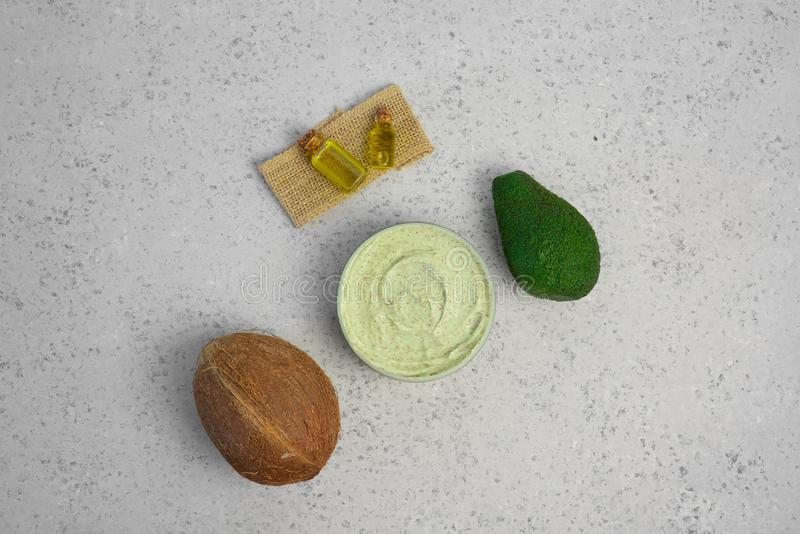 Skin care natural products ingredients for scrub body mask: Avocado, coffee, coconut, oil.  royalty free stock images