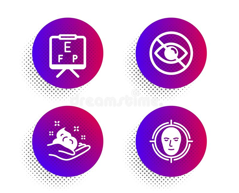 Skin care, Not looking and Vision board icons set. Face detect sign. Hand cream, Eye care, Eye check. Vector stock photo
