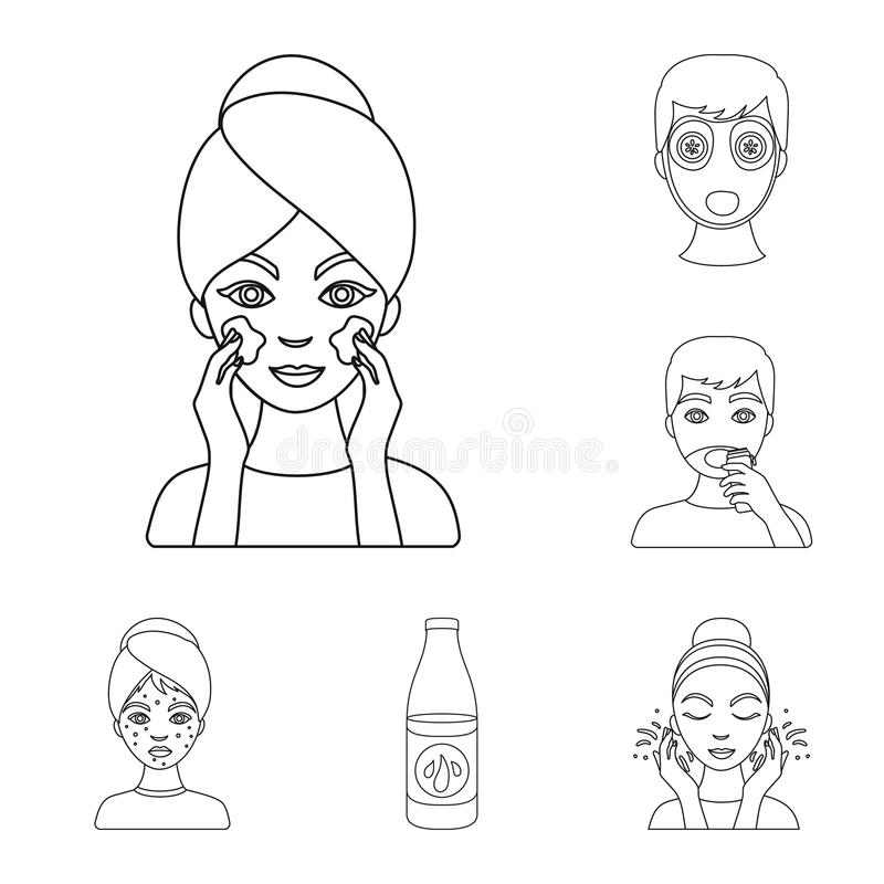 Skin care outline icons in set collection for design. Face and body vector symbol stock web illustration. Skin care outline icons in set collection for design vector illustration