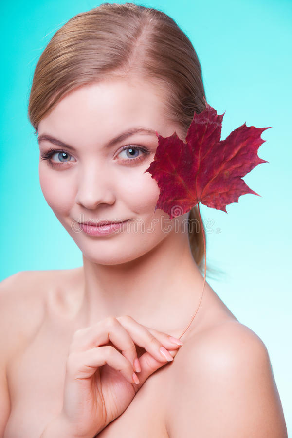 Download Skin Care. Portrait Of Young Woman Girl With Red Maple Leaf. Stock Image - Image of purity, procedure: 39506965