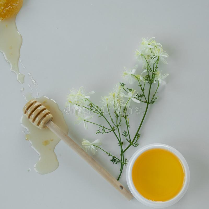 Skin care products with extract of honey and wild flowers. Healthy organic remedy. Superfood for the skin stock image