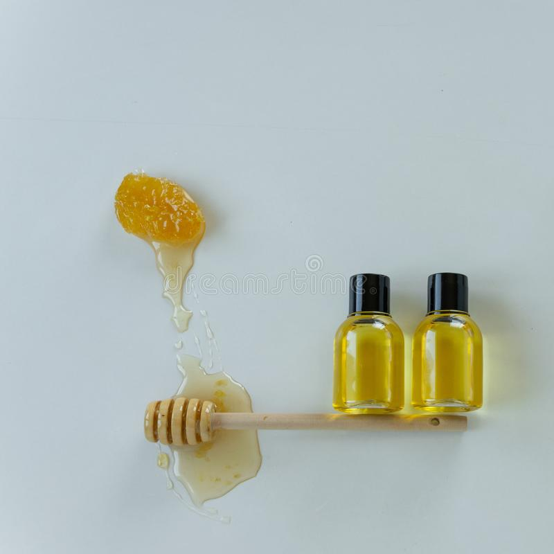 Skin care products with honey. Healthy organic remedy. Superfood for the skin royalty free stock photos