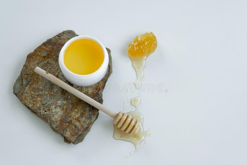 Skin care products with honey. Healthy organic remedy. Superfood for the skin stock photo