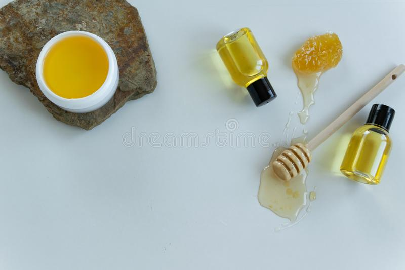 Skin care products with honey. Healthy organic remedy. Superfood for the skin royalty free stock images