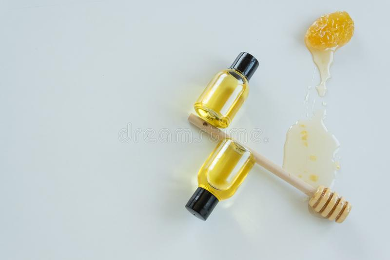 Skin care products with honey. Healthy organic remedy. Superfood for the skin stock images