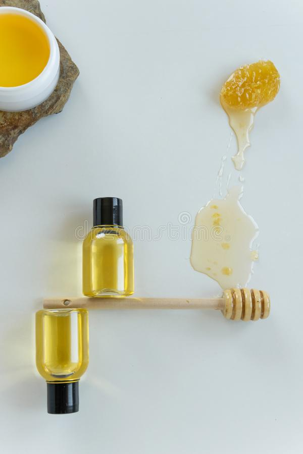 Skin care products with honey. Healthy organic remedy. Superfood for the skin stock image